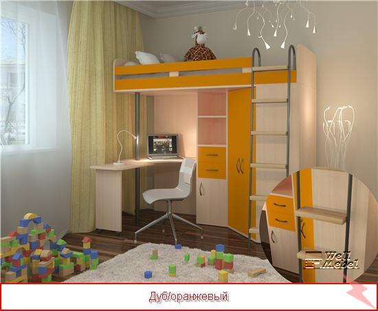 Кровать чердак с рабочей зоной М 85, МОСКВА