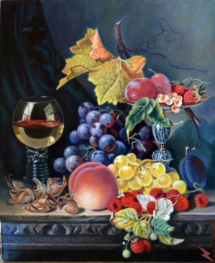 Картина маслом. Вино и фрукты., Сосновка