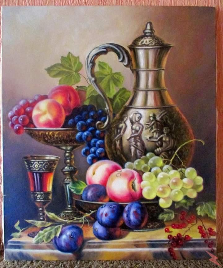 Картина маслом Натюрморт с персиками 0 ., Сосновка