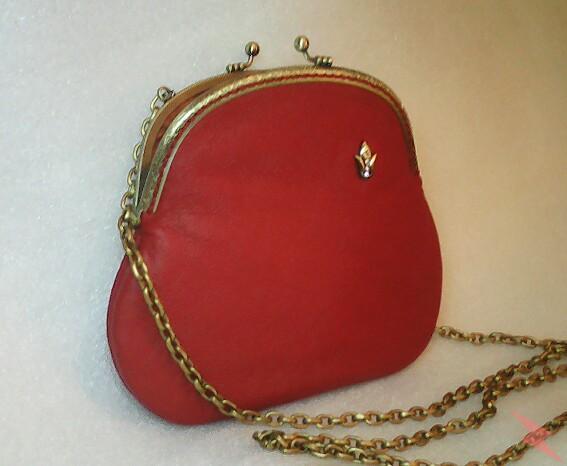 Маленькая кожаная сумочка рябиново-красная, САНКТ-ПЕТЕРБУРГ